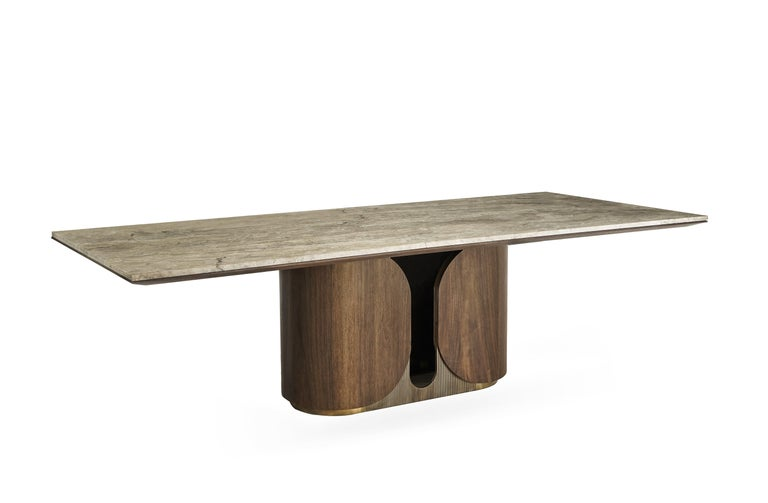 Turkish Horus Table, Contemporary Dining Table in Aged Brass Base and Travertine Top For Sale