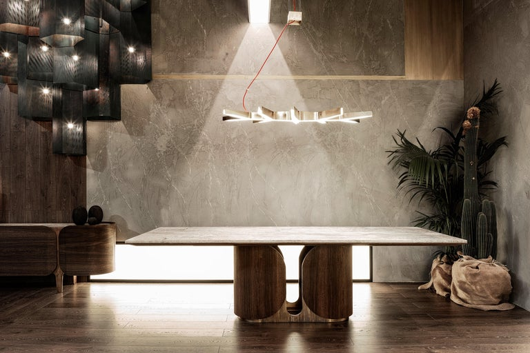 Horus Table, Contemporary Dining Table in Aged Brass Base and Travertine Top In New Condition For Sale In New York, NY