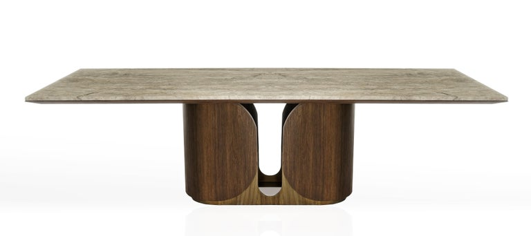 Horus Table, Contemporary Dining Table in Aged Brass Base and Travertine Top For Sale 1