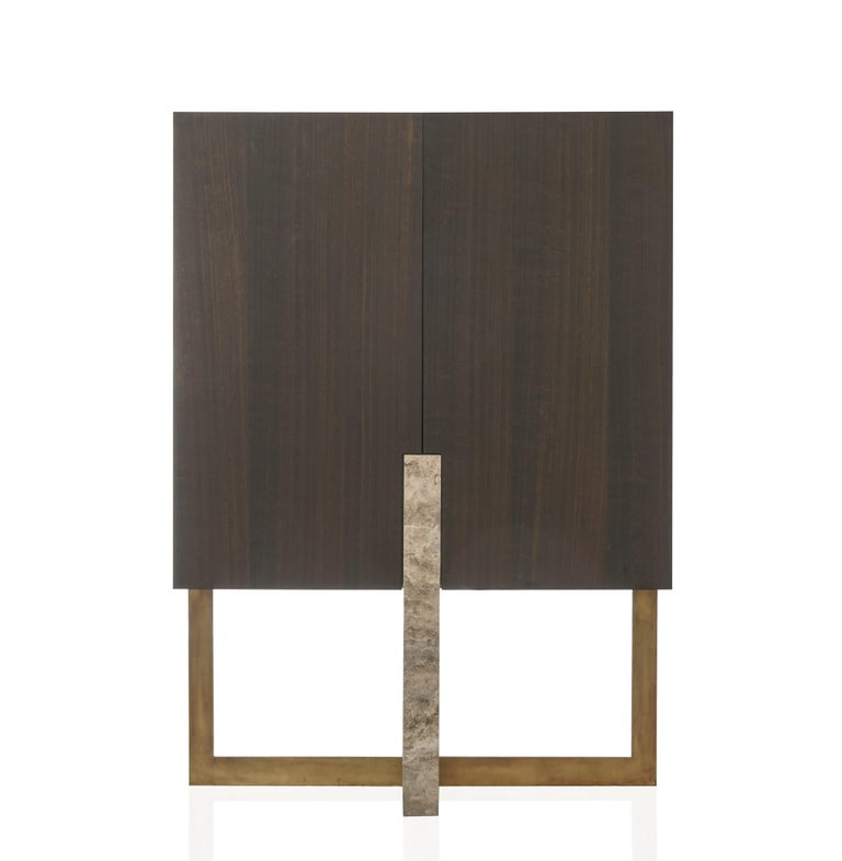 Inca, Contemporary Cabinet in Aged Brass, Travertine and Wood with LED Lighting
