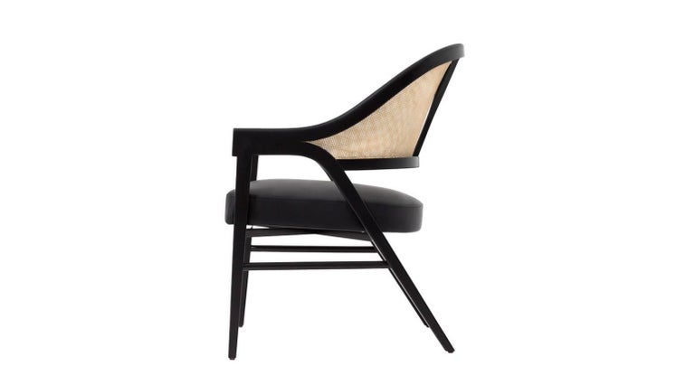 Modern Set of Four Contemporary Dining Chairs in Cane and Solid Wood For Sale