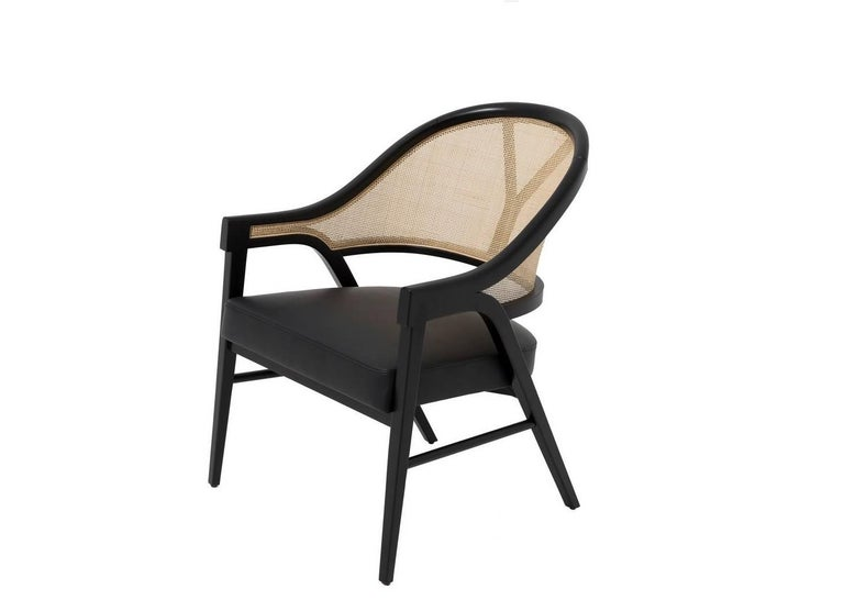 Portuguese Set of Four Contemporary Dining Chairs in Cane and Solid Wood For Sale