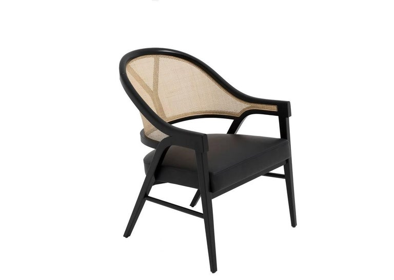 Lacquered Set of Four Contemporary Dining Chairs in Cane and Solid Wood For Sale