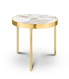 Kandinsky, Contemporary Round Side Table in Marble with Gold Base