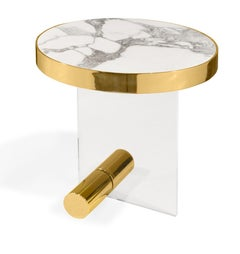 Kandinsky, Contemporary Round Side Table in Marble w Acrylic Base & Gold Metal