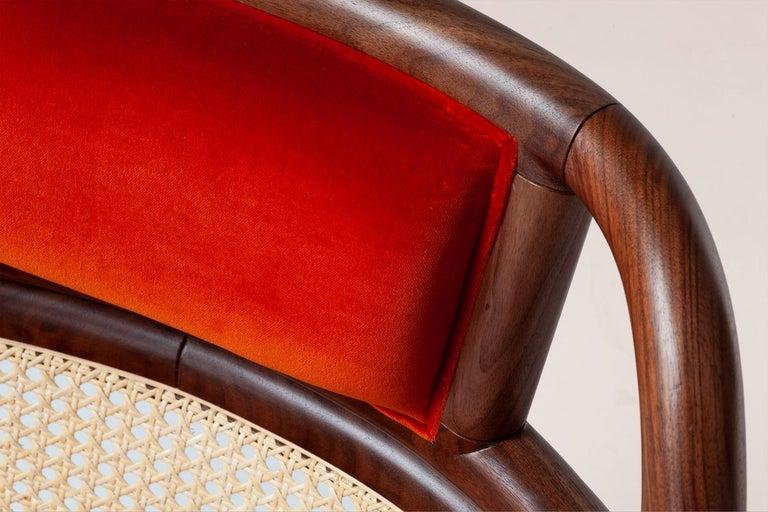 Portuguese Havana Rattan Armchair, Contemporary Bohemian Style Velvet Lounge Chair For Sale