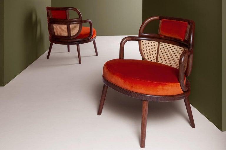 Modern Havana Rattan Armchair, Contemporary Bohemian Style Velvet Lounge Chair For Sale