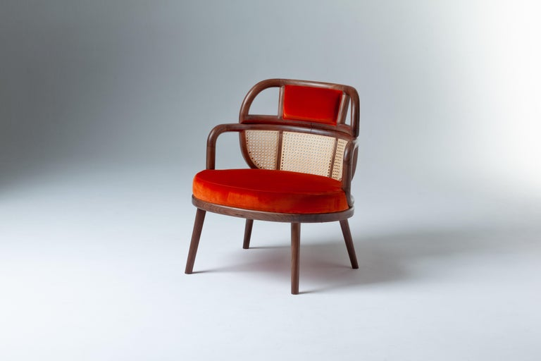 Havana Rattan Armchair, Contemporary Bohemian Style Velvet Lounge Chair In New Condition For Sale In New York, NY