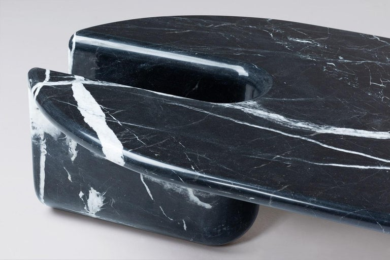 Portuguese Dobon Marble Coffee Table, Contemporary Sculpted Marble Centre Table For Sale