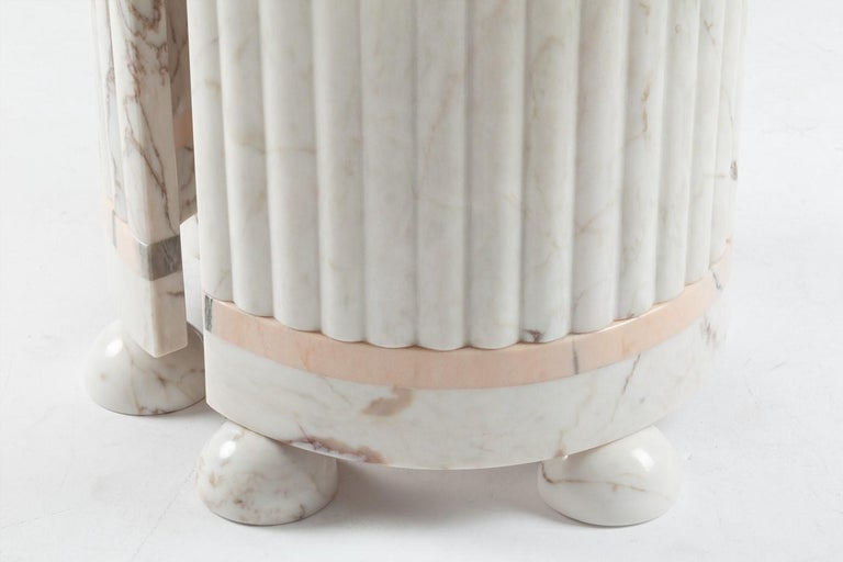 Modern Dome Marble Dining Table, Contemporary Round Table in White and Rose Marble For Sale