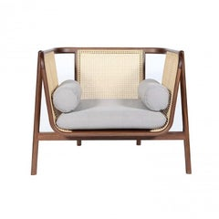 Hamp Armchair, Contemporary Lounge Chair in Walnut and Weaved Cane