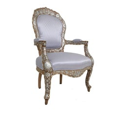 Istambouli Armchair in Walnut Wood with Inlay Seashell Mother-of-Pearl