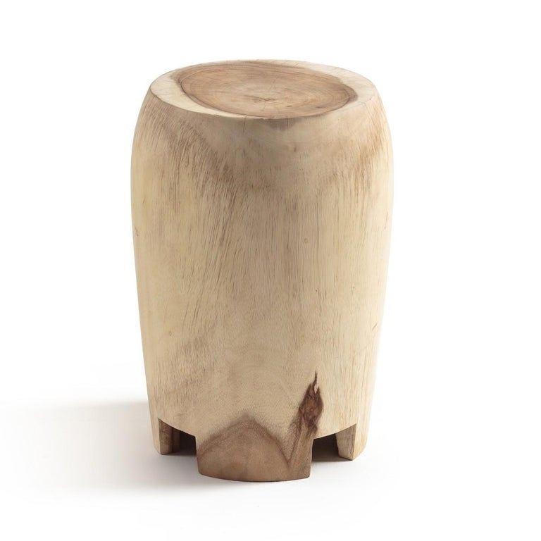 Contemporary Wooden Side Table Set Carved by Hand In New Condition For Sale In New York, NY