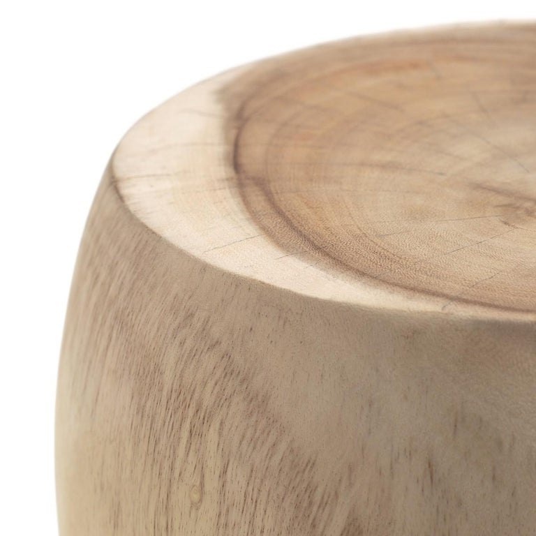 Contemporary Wooden Side Table Set Carved by Hand For Sale 1