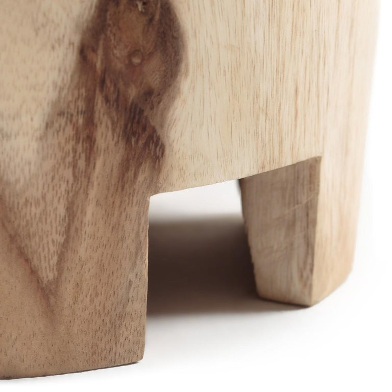 Contemporary Wooden Side Table Set Carved by Hand For Sale 2