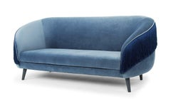 Contemporary Fringe Sofa In Shimmery Dusk Blue Velvet.