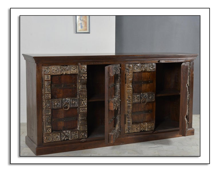 Modern Contemporary Wooden Sideboard In Antique Rustic Style For Sale