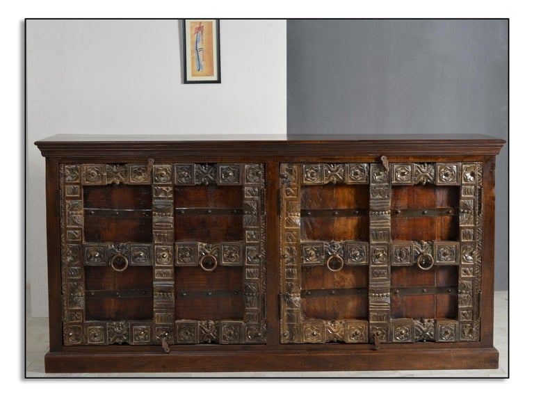 German Contemporary Wooden Sideboard In Antique Rustic Style For Sale