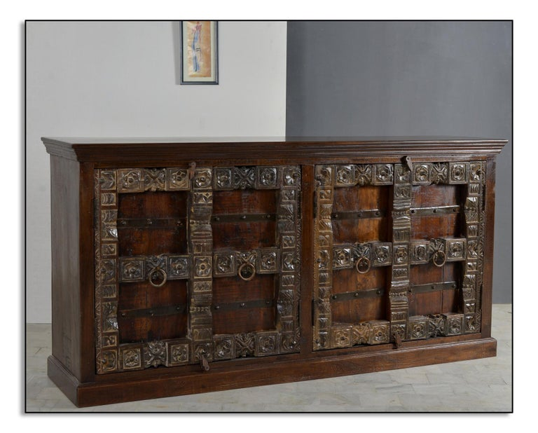 Contemporary Wooden Sideboard In Antique Rustic Style For Sale 1