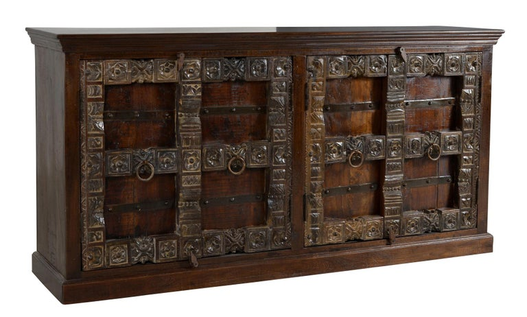 Contemporary Wooden Sideboard In Antique Rustic Style For Sale 3