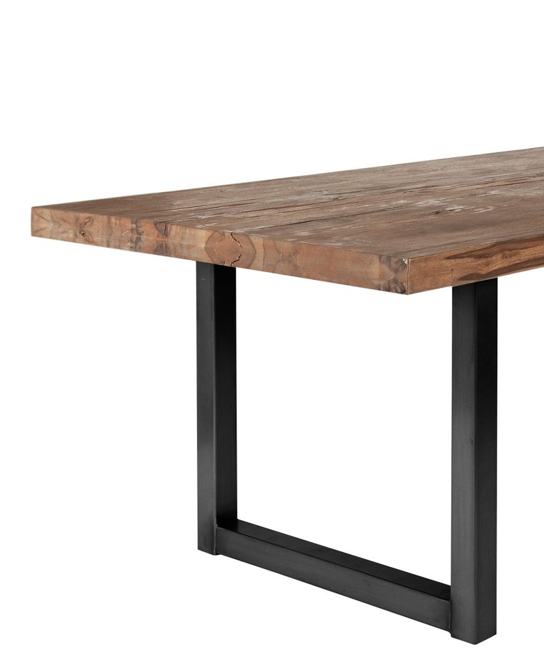 Modern Contemporary Dining Table in Solid Oak with Smoke Oil Finish For Sale