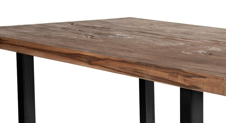 German Contemporary Dining Table in Solid Oak with Smoke Oil Finish For Sale
