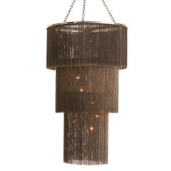 Retro Fringed Chandelier with Metal Chains in Antique Bronze Finish