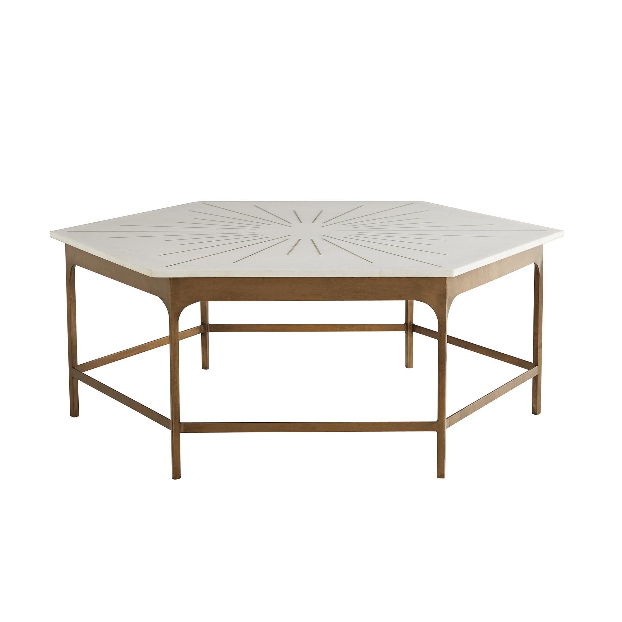 Hexagonal White Marble Coffee Table Handcrafted With Brass Inlay For Sale  At 1stdibs