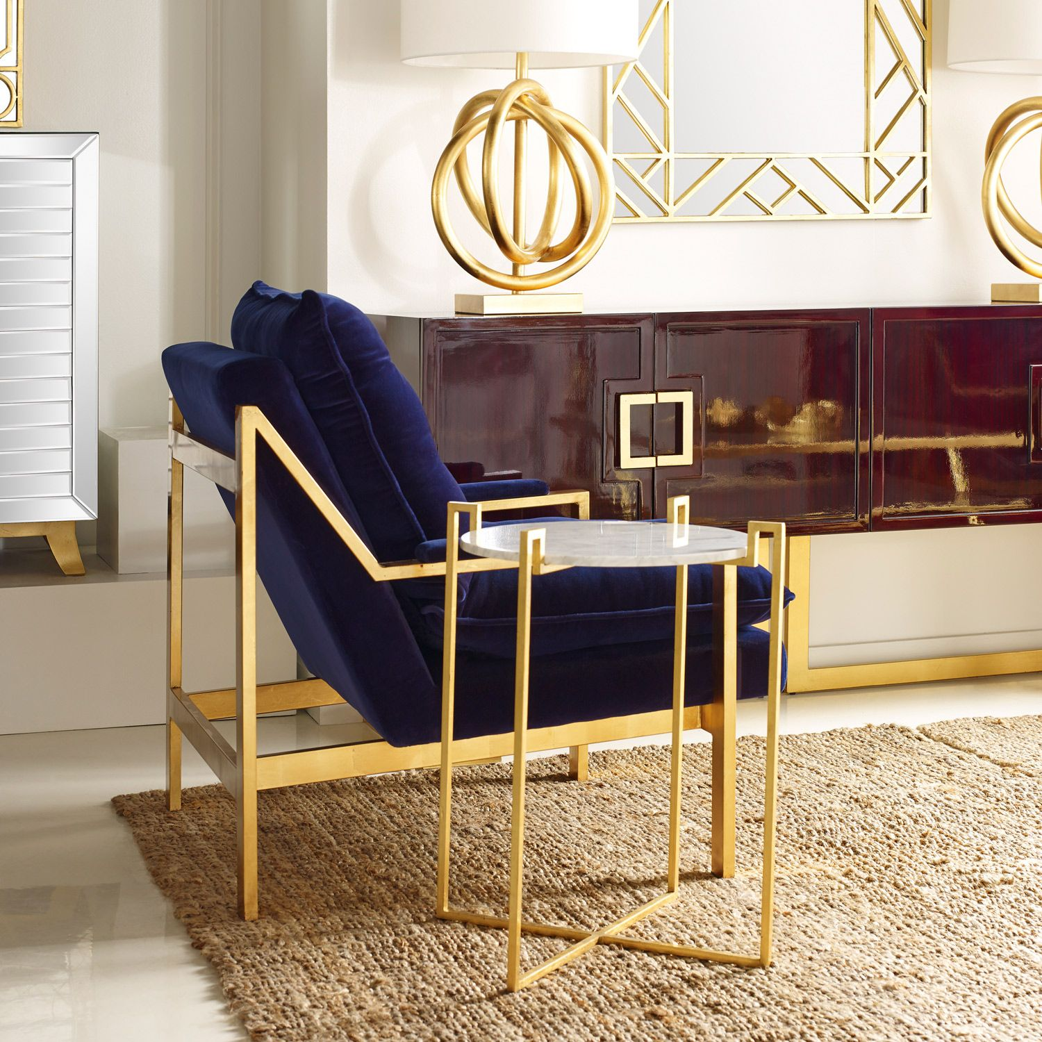 Swell Lounge Armchair With Gold Leaf Details Upholstered In Navy Pabps2019 Chair Design Images Pabps2019Com