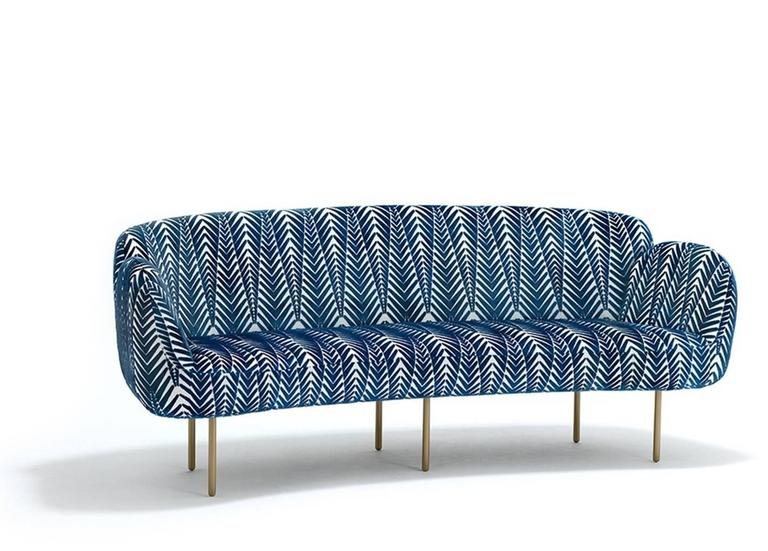 Seat and back upholstered in Turnell and Gigon: Zebra blue and cream. Tubular powder coated steel legs available in Interpon gold.