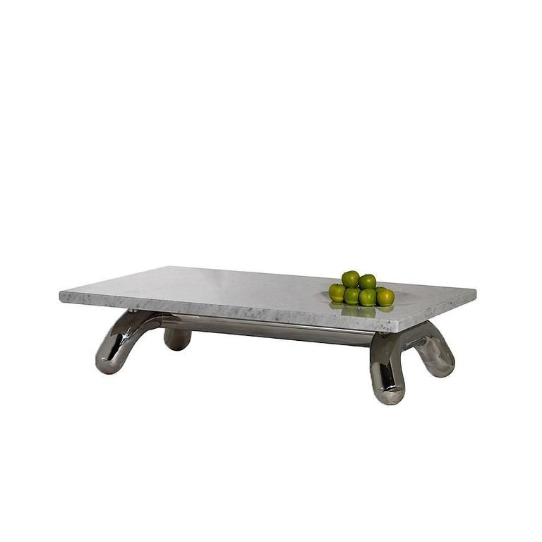 Centre table with mirror stainless steel base and Carrara marble top. The elephant coffee table design is based on the inspiration of the Architect Chakib Richani by Gian Lorenzo Bernini's sculpture base in Rome of an elephant carrying an ancient