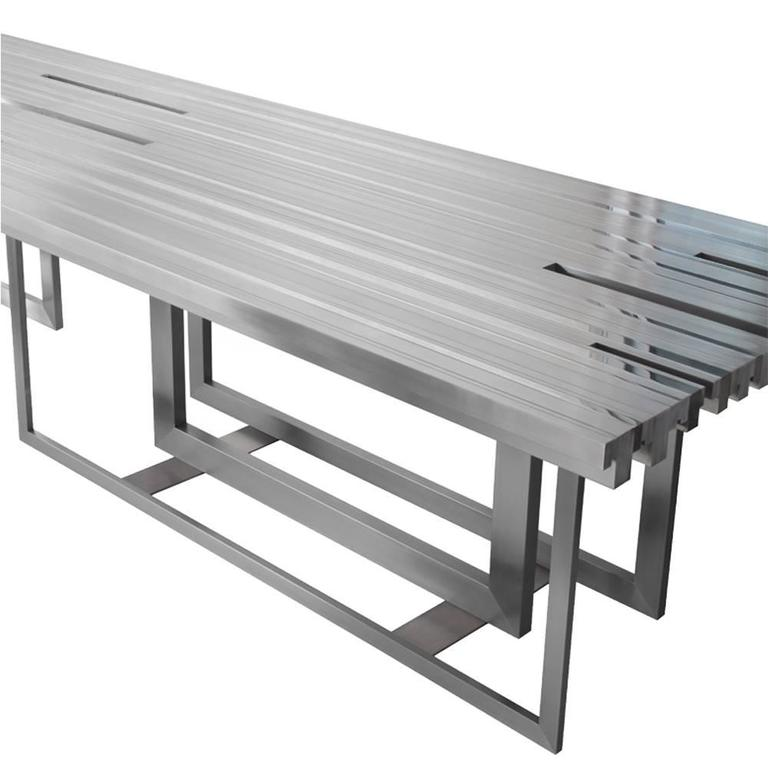 Modern Tempo Dining Table, Contemporary Stainless Steel Rectangular Dining Table For Sale