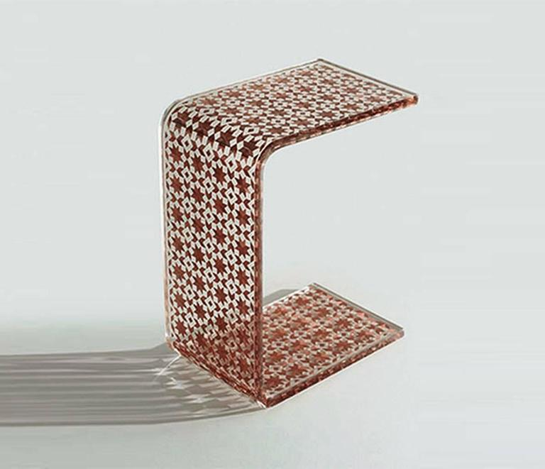 Brushed C Resin Side Table, Contemporary Side Table For Sale