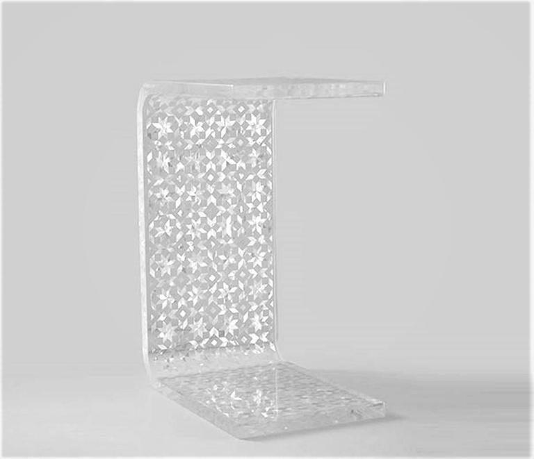 Silver C Resin Side Table, Contemporary Side Table For Sale