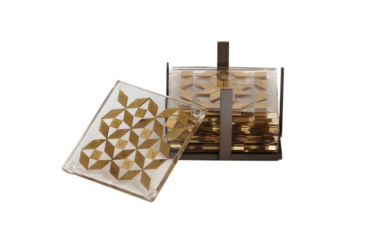 Clear Coaster Set, Contemporary Coaster Set with Brass Inlay 2