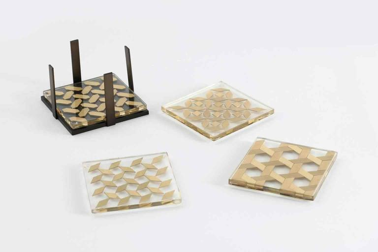 Clear Coaster Set, Contemporary Coaster Set with Brass Inlay 3