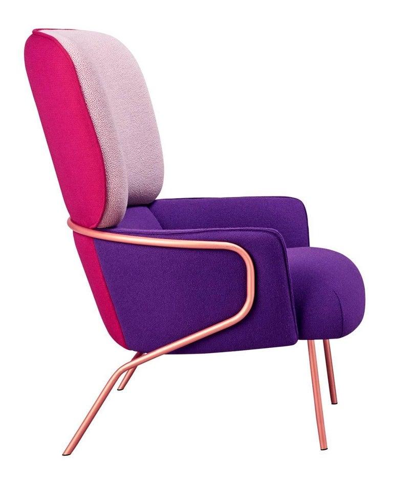 Cotton Armchair by Eli Gutierrez, Contemporary Armchair in Metallic Frame 3
