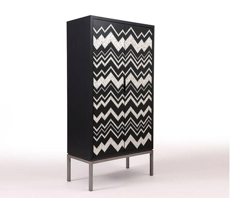 Modern Zig Zag Cabinet by Nada Debs, Classic Cabinet in Mother-of-Pearl Inlay For Sale