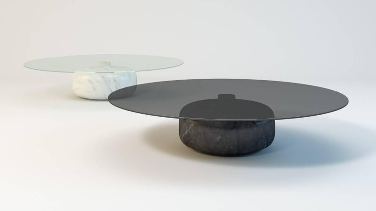 Modern Inoa, Contemporary Marble Coffee Table by Christophe Pillet with Glass Top  For Sale