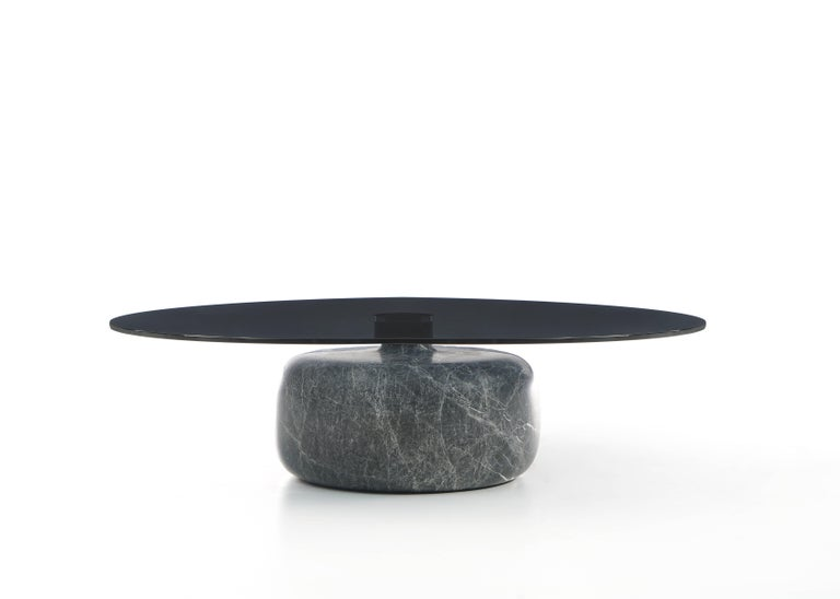 Turkish Inoa, Contemporary Marble Coffee Table by Christophe Pillet with Glass Top  For Sale
