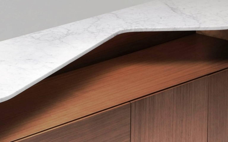 Bright Sideboard, Lighting Console with Walnut and Marble 3