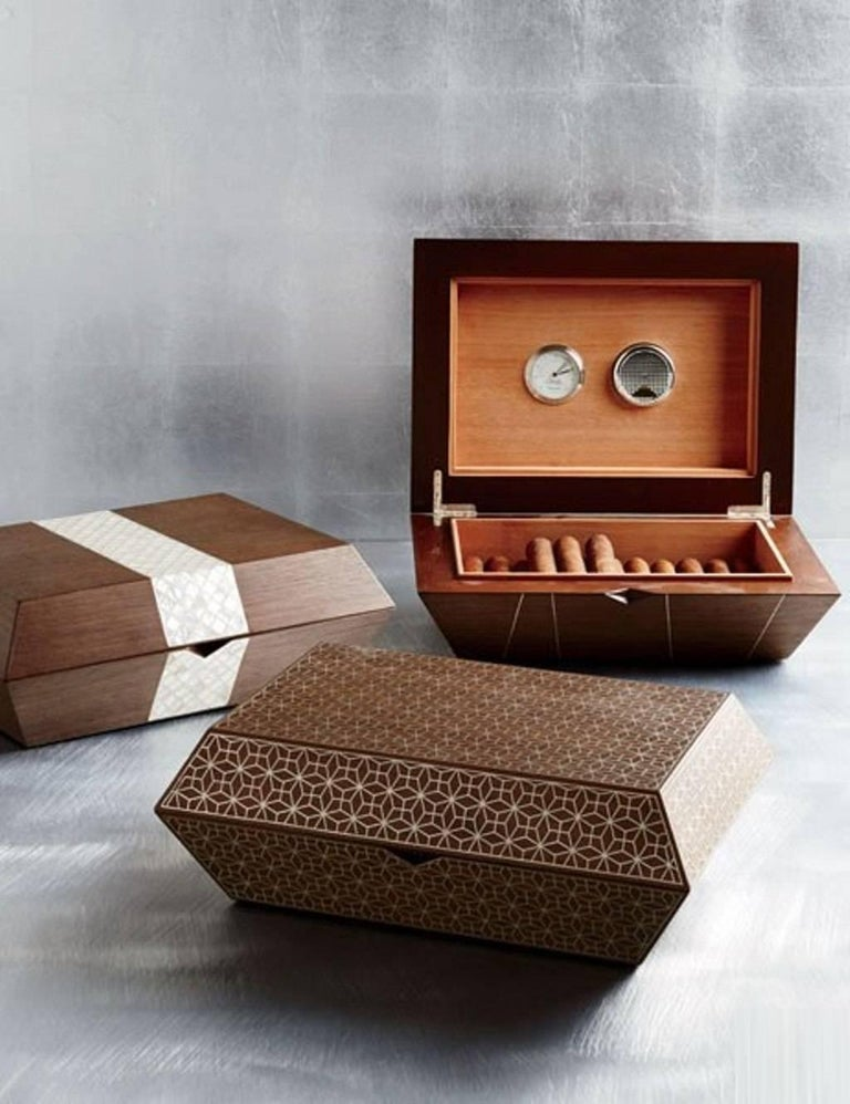 Lebanese Cigar Box, Contemporary Gift, Walnut with Mother-of-Pear Inlay For Sale
