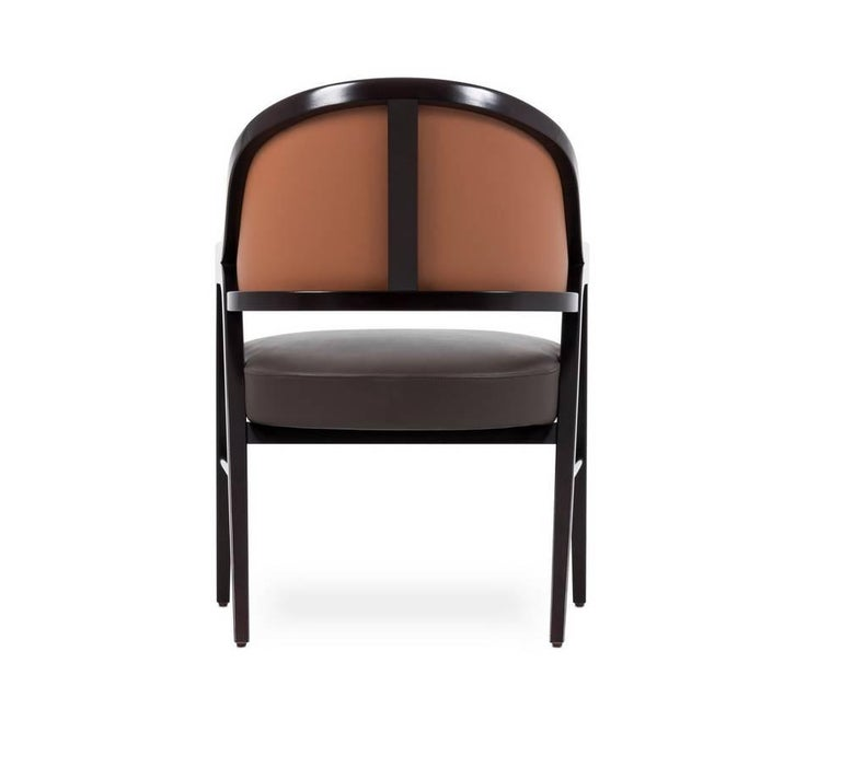 Portuguese Contemporary Grace Lounge Chair in Genuine Leather and Solid Wood For Sale