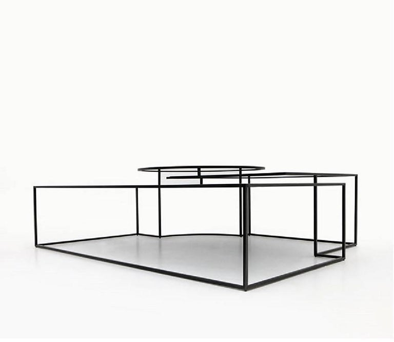 Modern Geometrik Coffee Table, Contemporary Architectural Steel Coffee Table For Sale