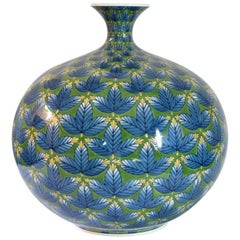 Large Japanese Imari Blue Green Porcelain Vase by Contemporary Master Artist
