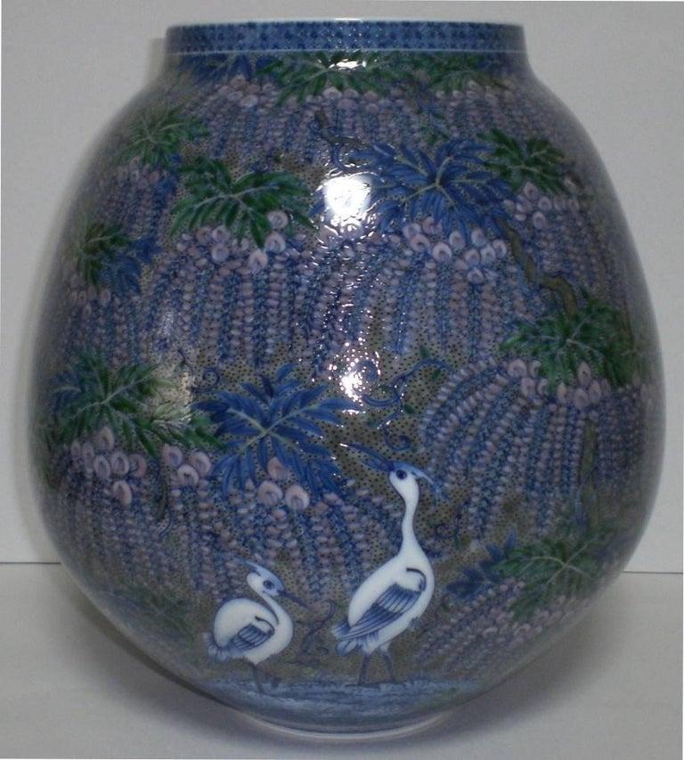 Japanese Hand-Painted Imari Large Porcelain Vase by Master Artist, circa 2005 For Sale 4