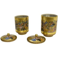 Pair of Gilded Hand-Painted Vintage Japanese Kutani Lidded Cups, circa 1950
