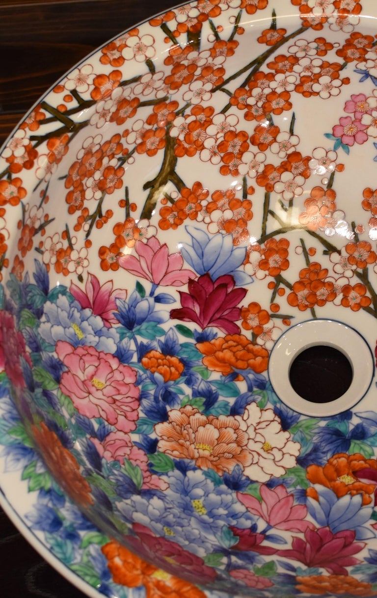 Japanese Hand-Painted Porcelain Washbasin by Contemporary Master Artist In New Condition For Sale In Vancouver, CA