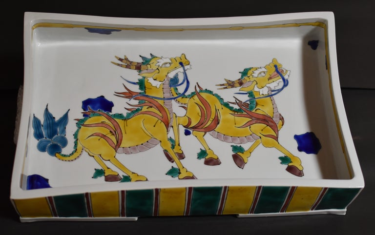 Large Contemporary Japanese Kutani Porcelain Charger by Master Artist For Sale 3