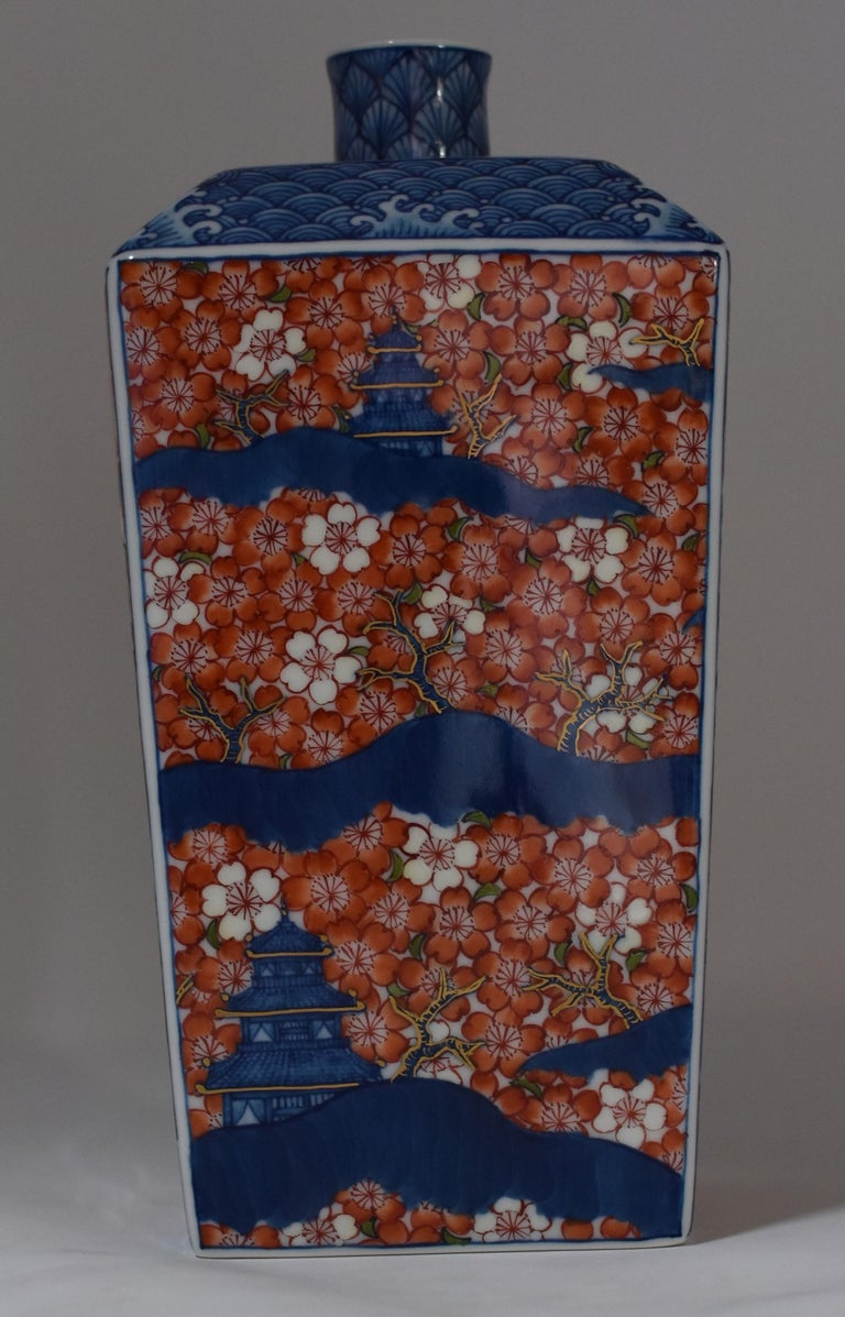 Contemporary Imari Red Blue Porcelain Decorative Vase by Master Artist For Sale 4